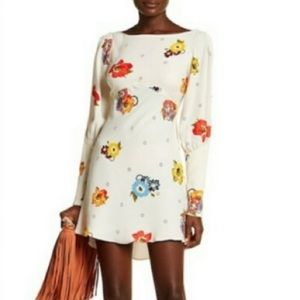 Free People Ivory Floral Long Open Sleeve Dress